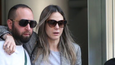 Sarah Gatto, daughter of Mick Gatto, leaves the County Court in Melbourne after a jury found her husband guilty.