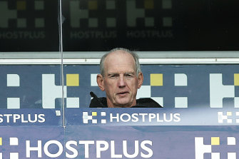Rabbitohs coach Wayne Bennett watches the first-round win over the Sharks.