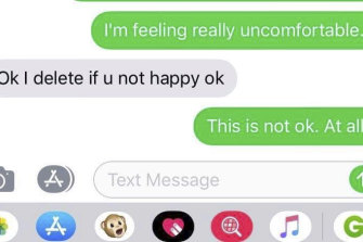 Text messages between Natasha and the driver.