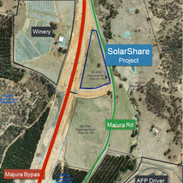The site of the new community solar farm in the Majura Valley to be run by SolarShare.