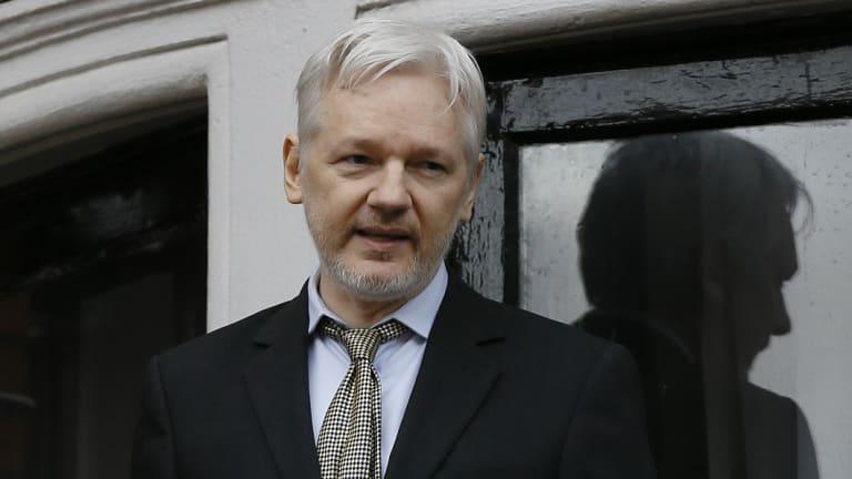WikiLeaks founder Julian Assange speaks from the balcony of the Ecuadorean Embassy in London.