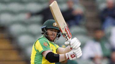 Australian opener David Warner in action against Pakistan at the Cricket World Cup.