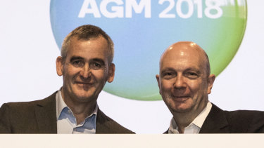 Woolworths' CEO Brad Banducci and chairman Gordon Cairns at its AGM on Wednesday.