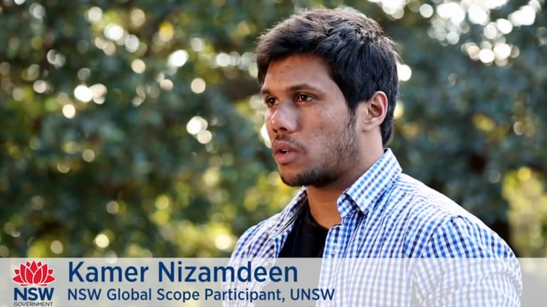 Kamer Nilar Nizamdeen appears in a 2016 promotional video for a project by the NSW Government body Study Sydney and an education startup. He was charged with terror offences on 31 August 2018.