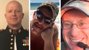 The three US firefighters have been remembered as heroes: (from left) First Officer Paul Hudson, flight engineer Rick DeMorgan jnr and Captain Ian McBeth.