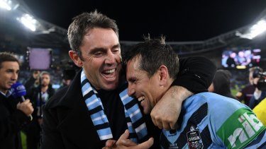 Brad Fittler with Mitchell Pearce after guiding NSW to a second straight Origin series win this year.