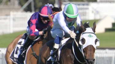 Red letter day: Jenny Duggan rides He Ekscels as part of a Saturday double last month.