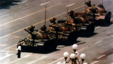 A man stands in front of tanks in Tiananmen Square in Beijing China on June 4, 1989.