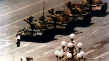 A man stands in front of tanks in Tiananmen Square in June 1989.