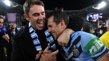 Fittler with Mitchell Pearce after guiding NSW to a second straight Origin series win this year.