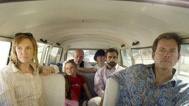 Alan Arkin, third from left, in Little Miss Sunshine.