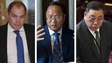 Former NSW ALP general secretary  Jamie Clements, Chinese billionaire Huang Xiangmo and former Labor MP Ernest Wong.