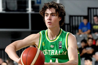 Josh Giddey made his debut for the Boomers against Hong Kong.