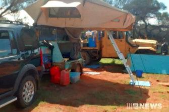 The couple's campsite.
