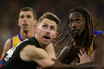 Shaun McKernan, left, is set to play round two as the Bombers manage their injury list.