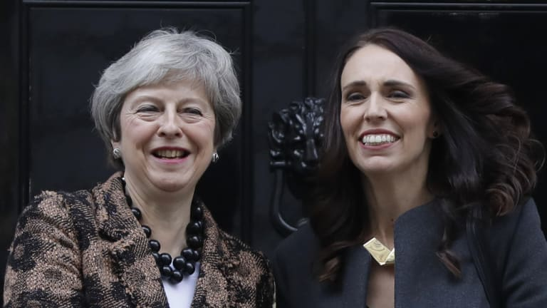 British Prime Minister Theresa May, left, welcomes New Zealand counterpart Jacinda Ardern to Downing Street.
