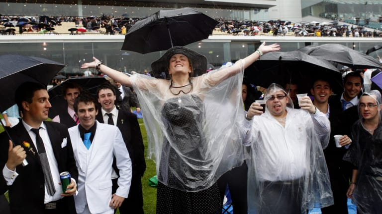 Rain invariably failed to dampen the spirits of Melbourne Cup revellers in 2010.