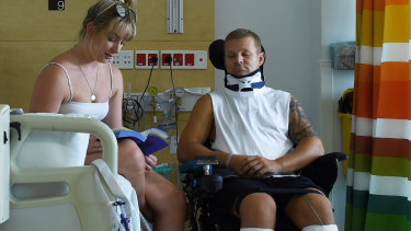 Ashley Treseder suffered a broken neck and is now in a wheelchair after he misjudged the water level when diving off a pier on January 3.