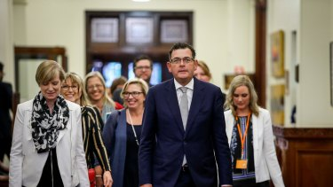 Rosie Batty with Victorian Premier Daniel Andrews and the late minister for the prevention of family violence Fiona Richardson, left, at the release of the royal commission report in 2016.