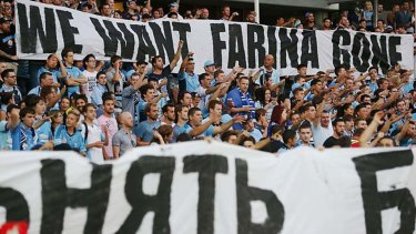 Sydney FC fans revolt after a loss to Adelaide in February 2014.