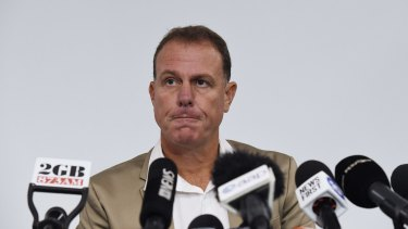 Alen Stajcic fronts the media after his sacking as Matildas coach.