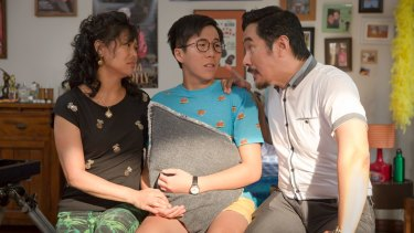Jenny (Fiona Choi), Ben (Trystan Go) and Danny (Anthony Brandon Wong) in The Family Law.