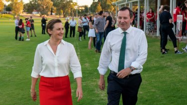 New climate action minister Amber-Jade Sanderson with Mark McGowan.