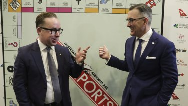 Qantas CEO Alan Joyce and Virgin Australia Group CEO Paul Scurrah, ahead of an address to the National Press Club last month where they pushed for greater airport regulation.