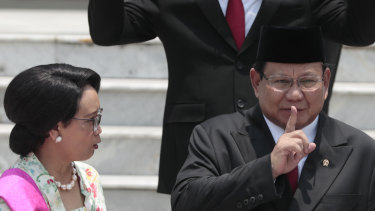 Newly inaugurated Indonesian Defense Minister Prabowo Subianto at Wednesday's inauguration.