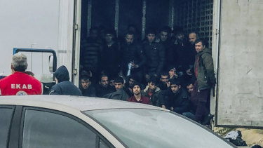 Migrants inside the truck found by police, near the town of Xanthi, Greece.