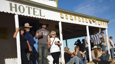 Drinkers at Birdsville Hotel during the annual Birdsville races in September.