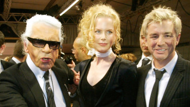 Karl Lagerfeld with Nicole Kidman and Baz Luhrman after the presentation of Chanel's spring-summer collection in 2005.