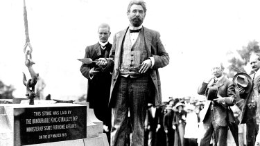 King O'Malley lays the third stone of the Commencement Column, a monument to designate the official foundation of the national capital and its naming as Canberra, 1913.