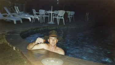 A photo of Brenden Abbott, the Postcard Bandit, at a Gold Coast hotel swimming pool.