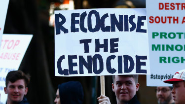 Demonstrators at a Sydney rally Lauren Southern attended.