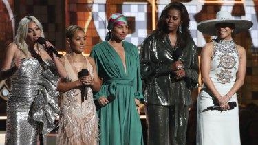 Lady Gaga, Jada Pinkett Smith, Alicia Keys, Michelle Obama and Jennifer Lopez at the  Grammys.