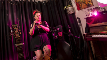 Singer Lucinda Franco in her home studio.