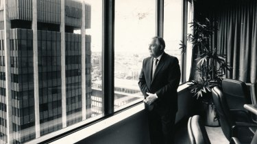 Alan Bond in his 1988 boardroom, across from Westpac Bank which would later pay out $1.7 billion to Bond's Bell Group liquidators in a landmark settlement relating to the corporate collapse.
