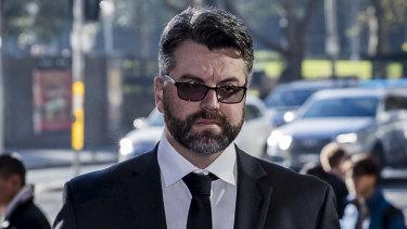 Former police officer Kristian Dieter Glaser arrives at court on Thursday.