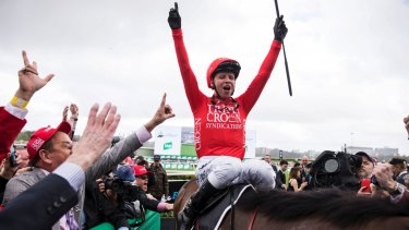Over the moon: Jockey Kerrin McEvoy after riding Redzel to win the Everest.
