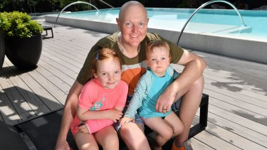 Jarrod Lyle with daughters Lusi and Jemma earlier this year.
