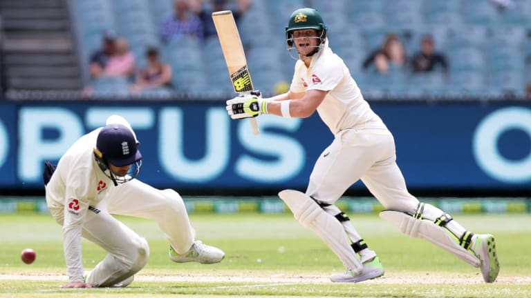 Steve Smith plays in front of a smattering of fans on day five of last year's Boxing Day Test.