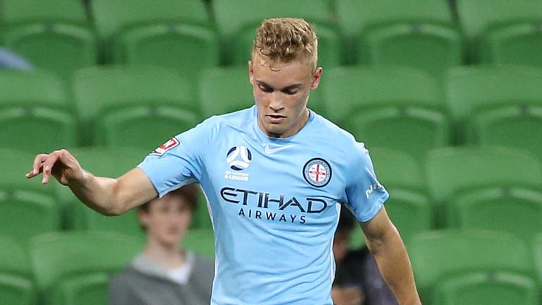 Nathaniel Atkinson, seen in action for Melbourne City, scored but it wasn't enough for the Young Socceroos.