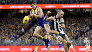 West Coast's Liam Duggan and Collingwood's Steele Sidebottom collide.