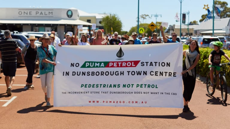 There was strong community opposition to the proposed Puma station in downtown Dunsborough.