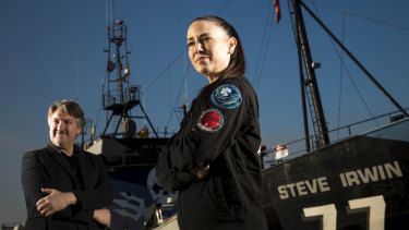 Aisha Reynolds, right, and director Stephen Amis aboard the retired Sea Shepherd vessel Steve Irwin in Williamstown.