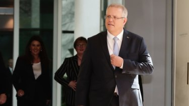 Scott Morrison arrives for the Liberal party room meeting after the spill was called.