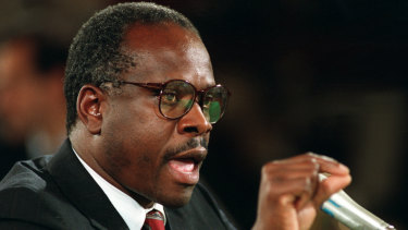 In 1991, then-US Supreme Court nominee Judge Clarence Thomas denounces and denies sexual harassment allegations made by Anita Hill against him before the Senate Judiciary Committee on Capitol Hill in Washington.