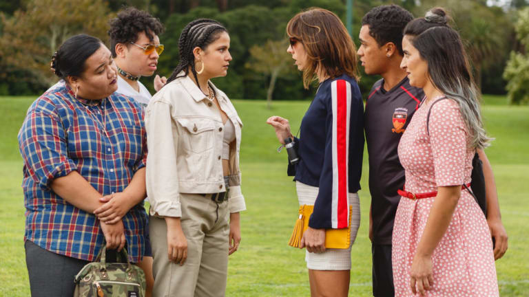 The Breaker Upperers, right, Jackie van Beek in striped top as Jen and Madeleine Sami in pink dress (Mel) with James Rolleston (James) as they confront his girlfriend Sepi (Ana Scotney).