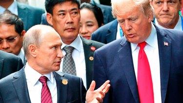 President Donald Trump, right, and Russia President Vladimir Putin in 2017.
